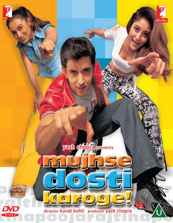 Poster Of Mujhse Dosti Karoge! 2002 Hindi 500MB HDRip 720p ESubs HEVC Watch Online Free Download Worldfree4u