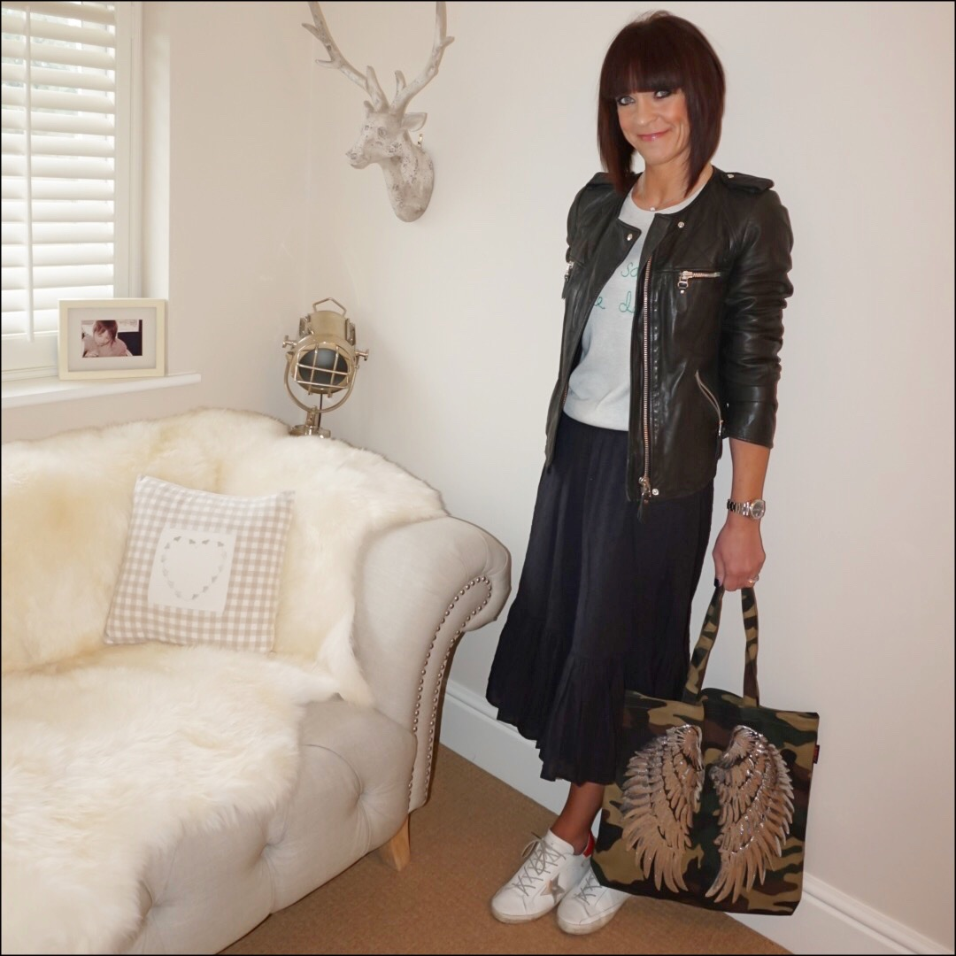 my midlife fashion, isabel marant leather biker jacket, hush love saves the day sweater, j crew broderie anglaise midi skirt, camouflage tote, golden goose superstar low top leather trainers
