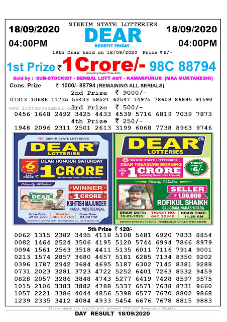 Lottery Sambad Result 18.09.2020 Dear Benefit Friday 4:00 pm