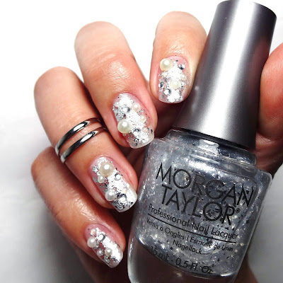 Pearl and Rhinestone Nails