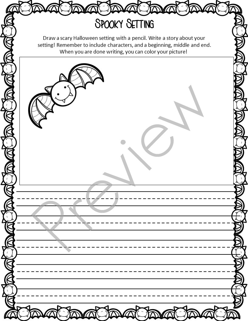little mrs bell spooky setting writing pages allow students to practice what they have learned about setting while writing each page has a fun halloween themed graphic and