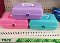 Dollar Tree fake Caboodles makeup cases pink blue purple