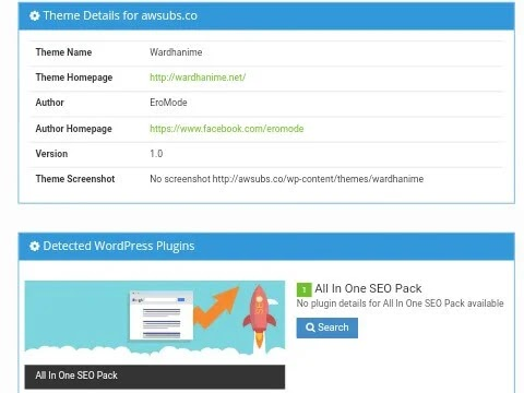 Detail informasi mengenai theme wordpress