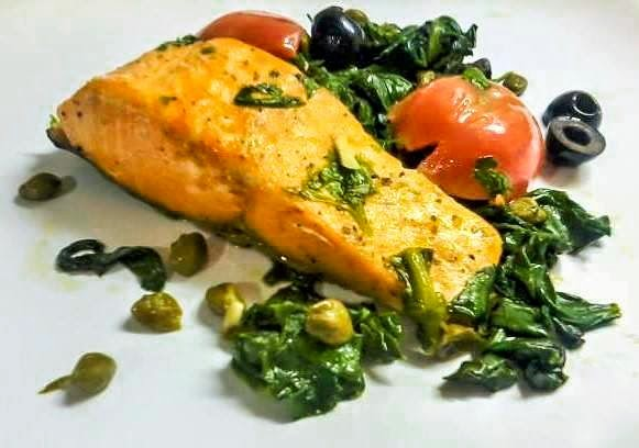 Salmon, Tomato, Spinach, Capers, Recipe