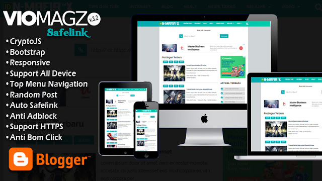 Template Blogger Safelink Viomagz Bootstrap