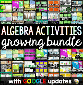 Algebra Activities Bundle w/ GOOGLE updates
