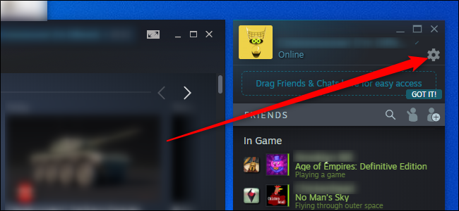 قائمة إعدادات Steam Friends