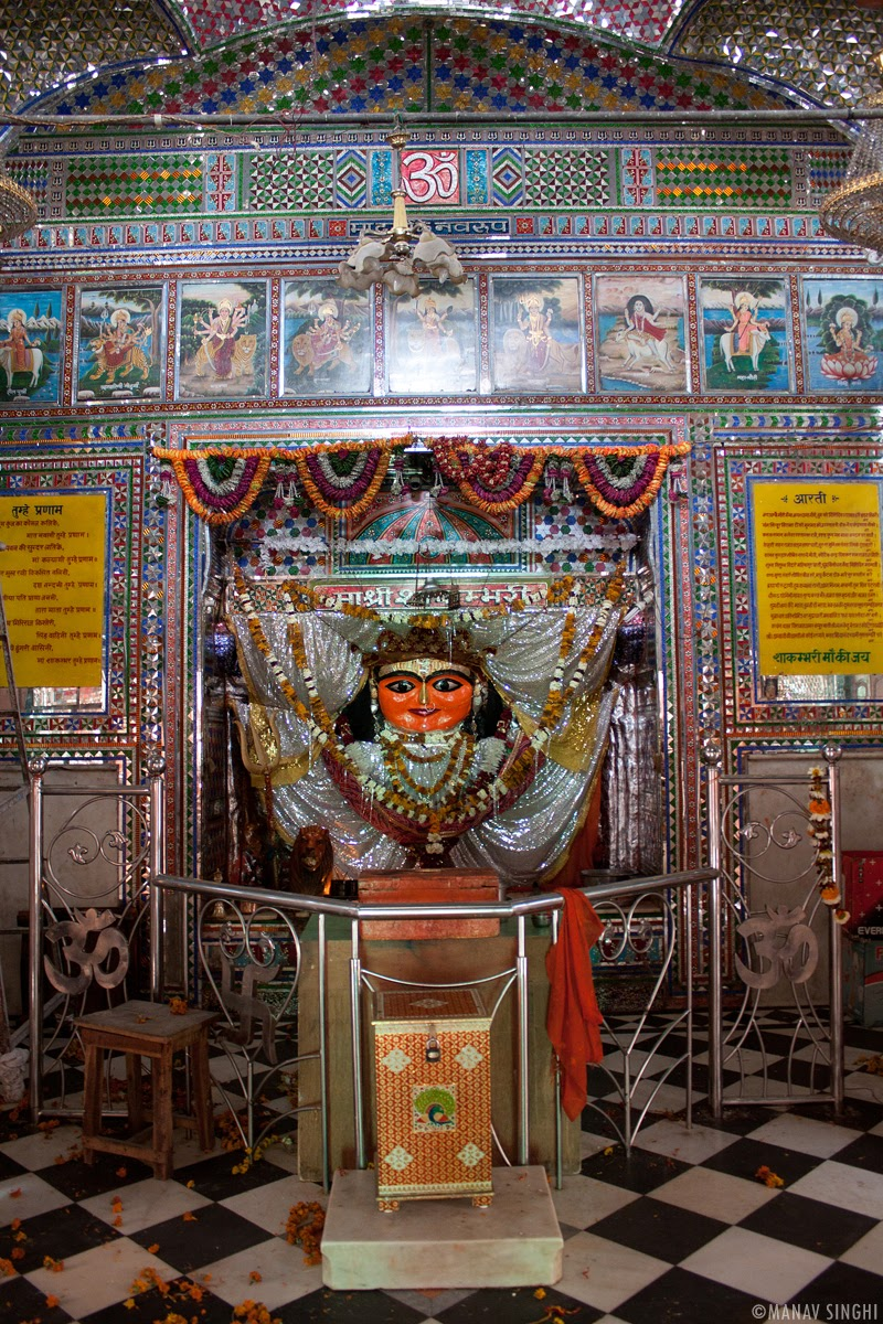Idol of Shakambhari Mata in right hand side image.