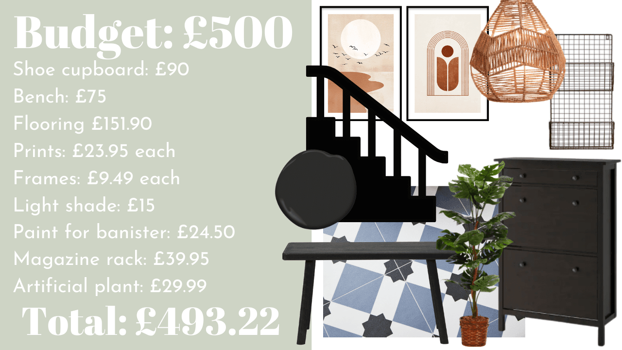 Inspiration for updating your hallway decor on a budget. How to create a big impact in your home using decoration and accessories for different budget
