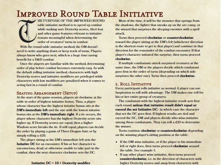 Review: Improved Round Table Initiative – what is this for 5e? | Powered by OSR Podcasts
