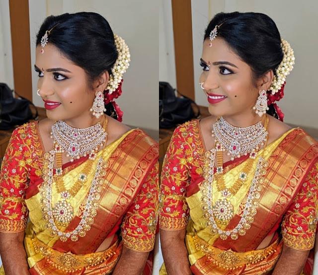 Bride in Ramparivar Diamond Choker