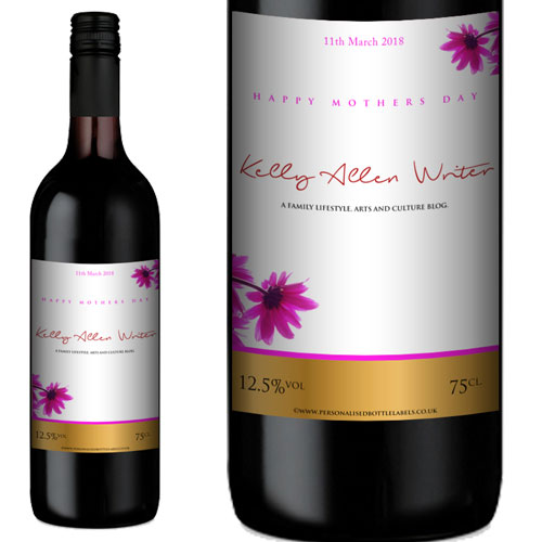 A bottle of wine and a close up of the label with Kelly Allen Writer across the label.