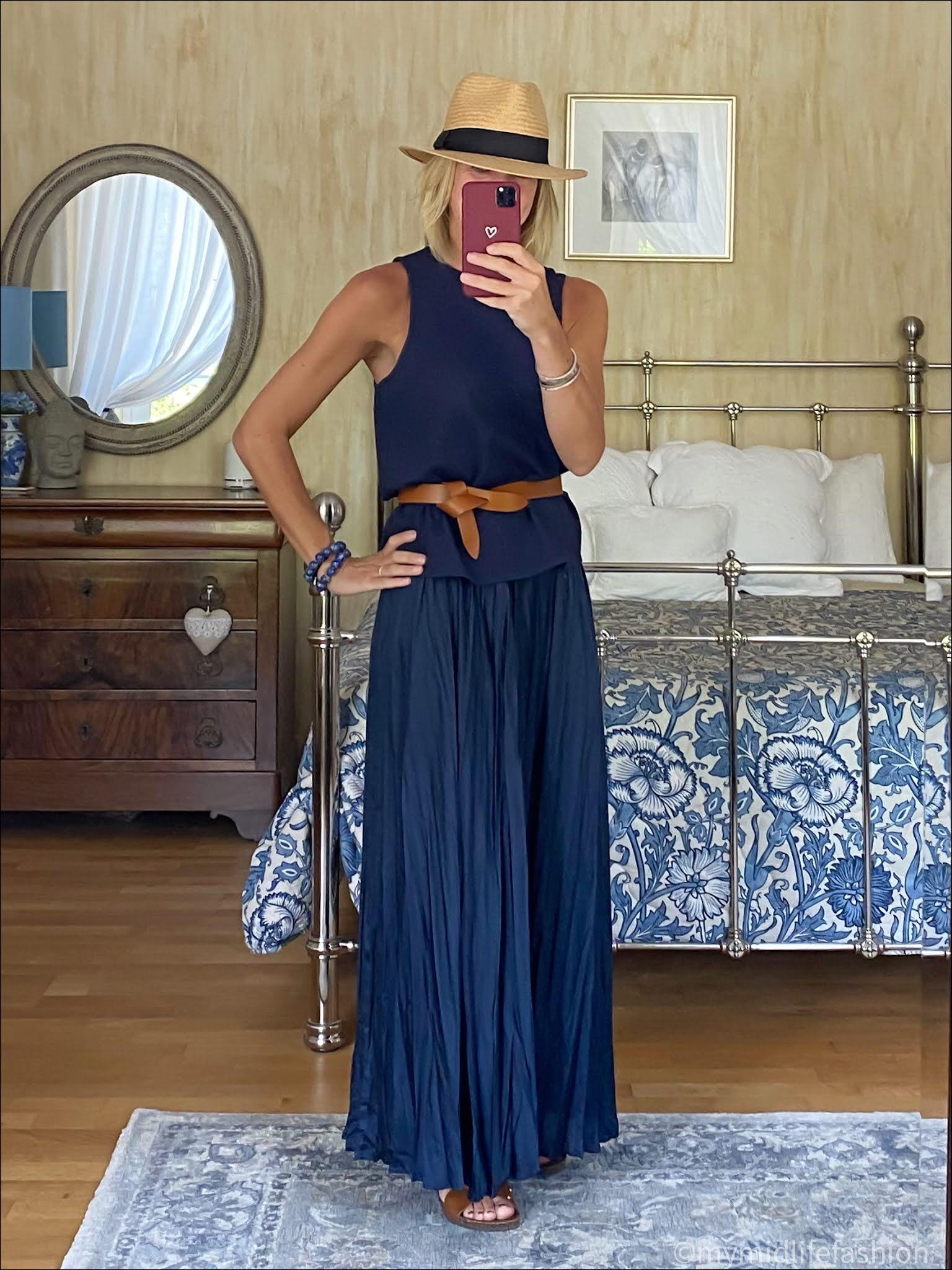 my midlife fashion, tibi sleeveless top, Isabel marant leather belt, Zara satin maxi skirt, basalt studded leather slides