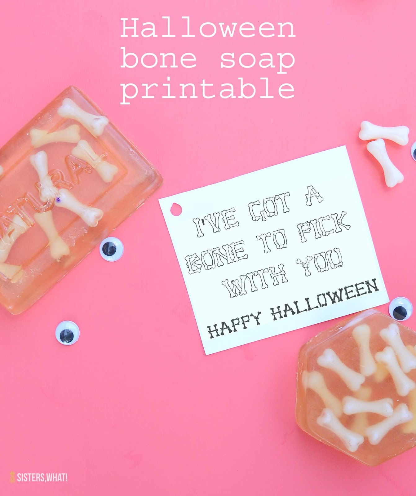 Halloween gift bone soap printable