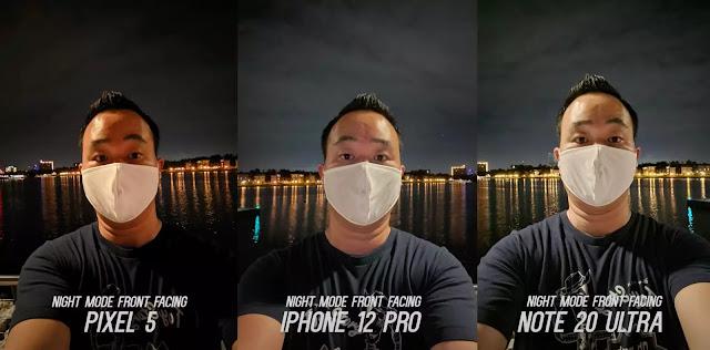 iPhone 12 Pro مقارنة بهاتفي Pixel 5 و Galaxy Note20 Ultra