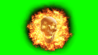 A photo of an animated glowing skull with fire behind it on a green background
