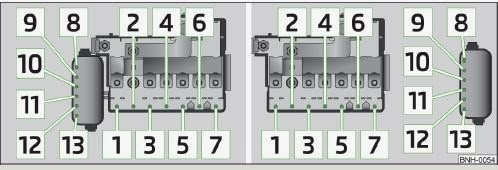 skoda rapid - schematic representation of fuse box in engine compartment:  version 1/version