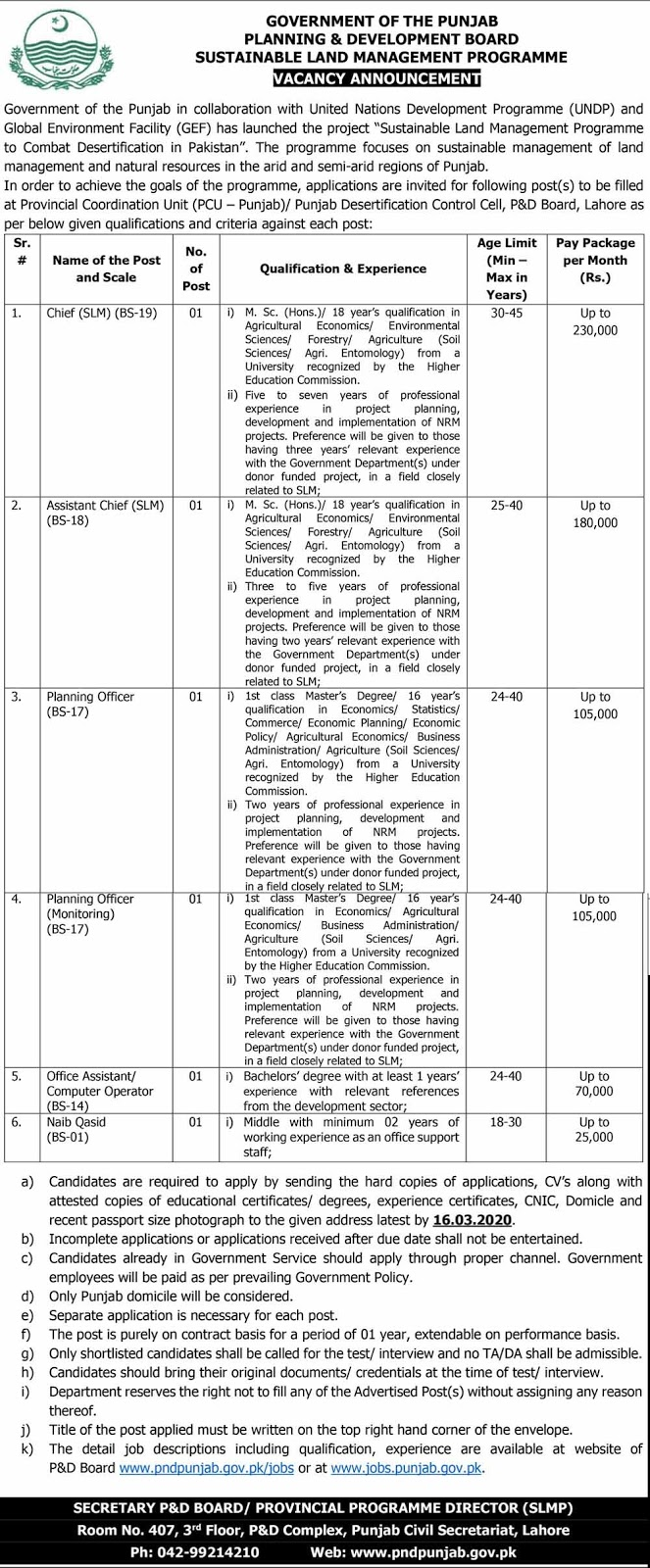 Latest jobs in Planning and Development Department Govt of the Punjab For Chief, Assistant Chief 2020