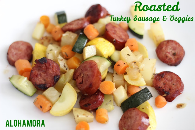 Roasted Turkey Sausage and Veggies/Vegetables is a healthy meal you can make in 30 minutes.  Flavorful, quick, and easy dinner perfect for a busy summer weeknight meal.  Kid approved and delicious to everyone. Alohamora Open a Book http://alohamoraopenabook.blogspot.com/