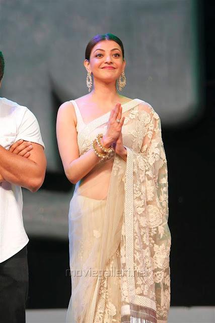Kajal Aggarwal In Beautiful Designer Saree at Khiladi 150 Meet (2)