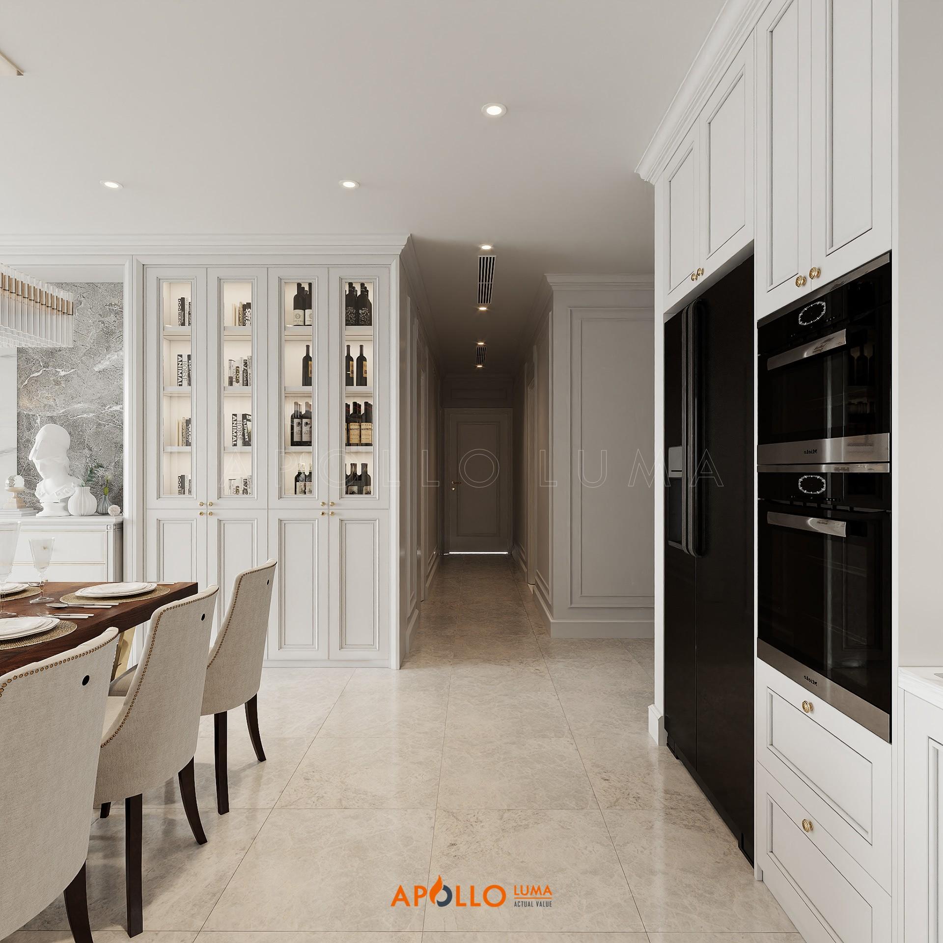 Thiết kế nội thất căn 3PN Vinhomes Metropolis phong cách Tân Cổ Điển