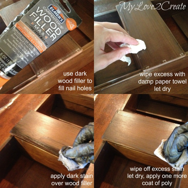 Using wood filler and stain to cover nail holes