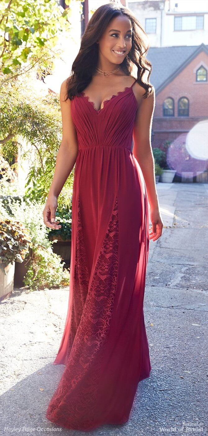 Hayley Paige Occasions Spring 2018 Burgundy chiffon A-line bridesmaid gown