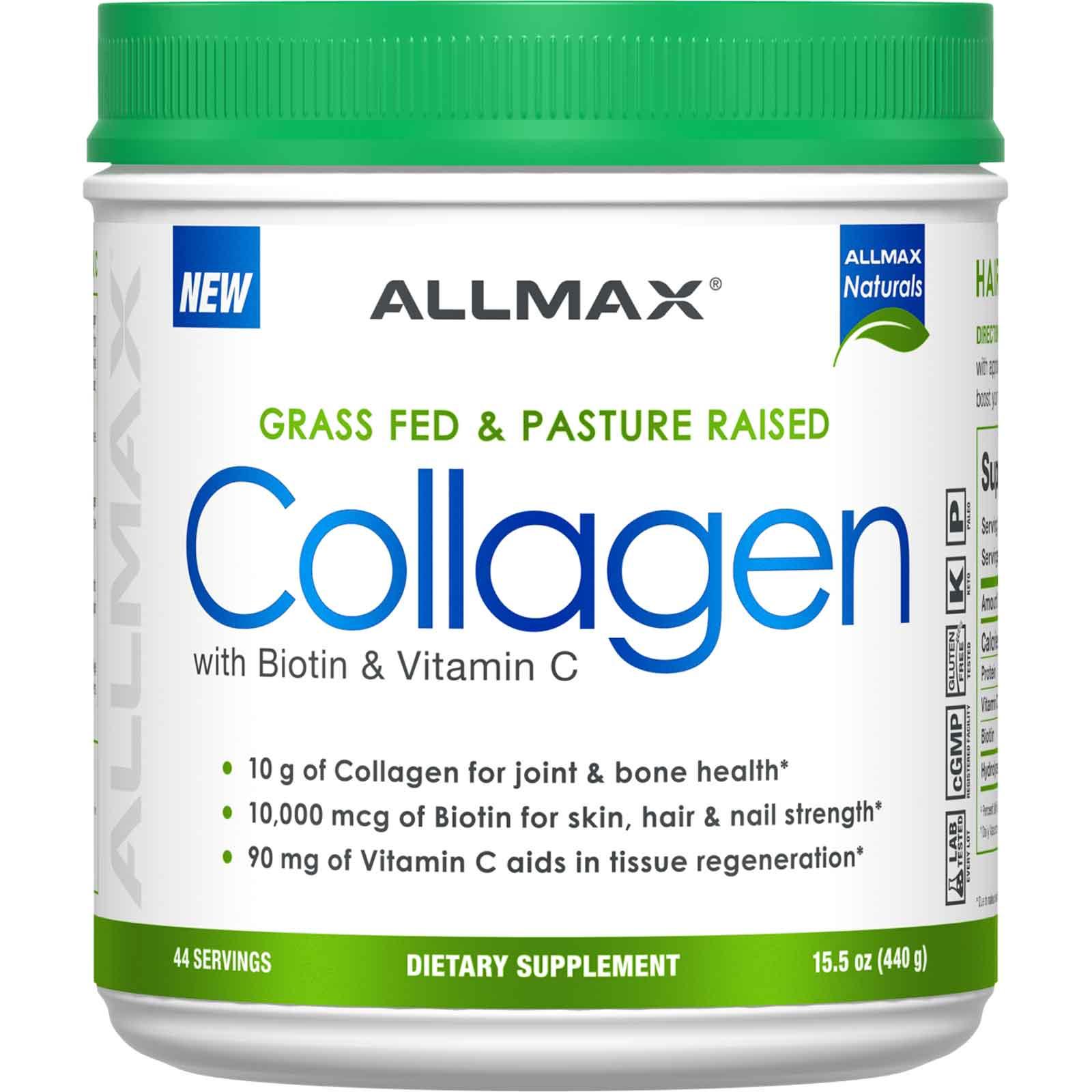 ALLMAX Nutrition, Экологически чистый коллаген с 10 000 мкг биотина + 90 мг витамина C, 440 г (15,5 унции)