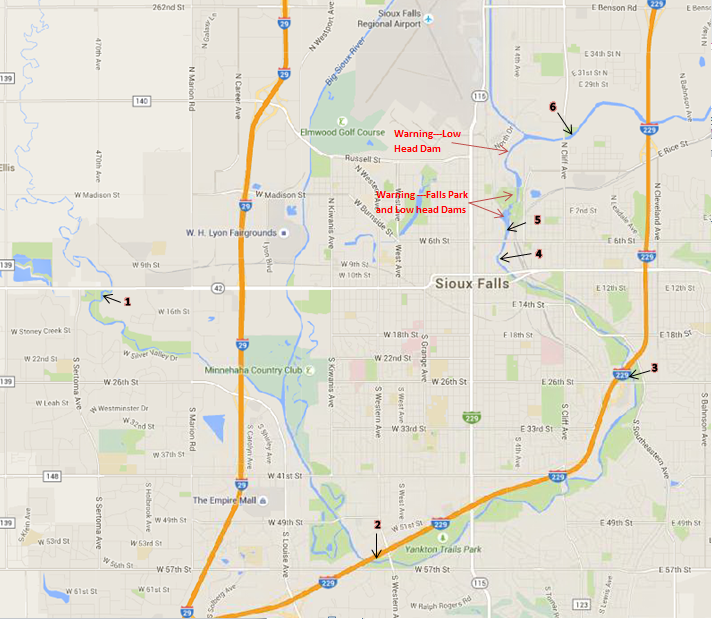 Sioux Falls Paddlers: Kayak and Canoe Map in Sioux Falls