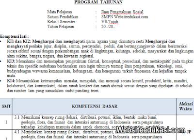 Prota, Promes IPS Kelas 7 SMP/MTs K13 Revisi 2019