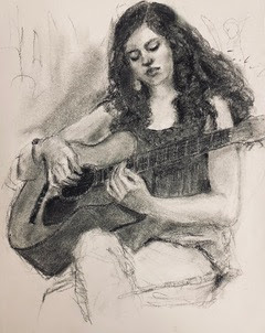 Young Woman playing guitar black and white drawing