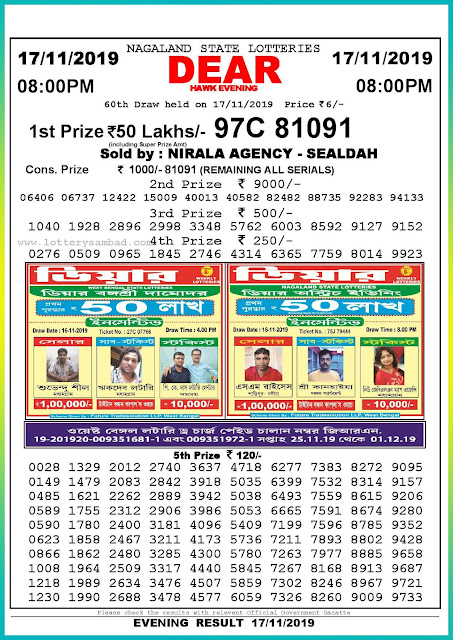 Sambad lottery 17-11-2019 Nagaland State Lottery Result 08.00 PM-lotterysambadresults.com