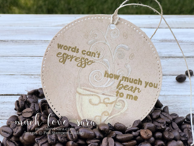 Coffee themed handmade gift tag, created with the Espresso Swirls ATS Stamp Set, available from Fun Stampers Journey EXCLUSIVELY as a Bloom Benefit - spend $75 or more on any FSJ products, and choose this stamp set as a free bonus!  Tag features no line coloring technique on kraft Oatmeal Cookie card stock.