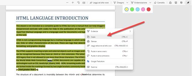 seleziona e copia testo con edge