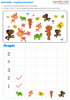 Mama Love Print 自製工作紙  - 幼兒數學邏輯統計圖表概念中英文工作紙 Level 2 Learning Math Graph K2 K3 Kindergarten Math Worksheet Free Download