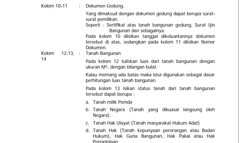 Panduan Cara Pengisian Kartu Inventaris Barang (Kib) C Gedung DanBangunan Hal-2 Inventaris Sekolah