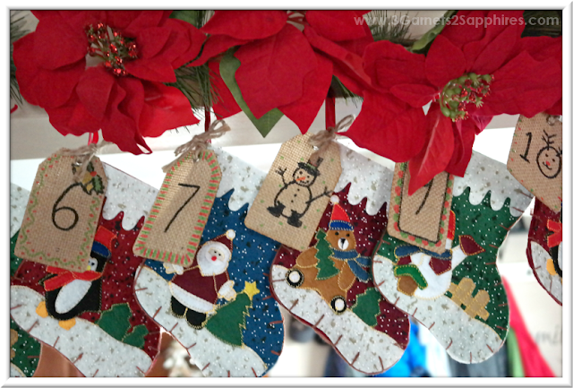 Easy to make hanging DIY advent calendar craft  |  3 Garnets & 2 Sapphires