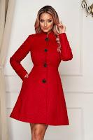 Palton Artista rosu elegant scurt in clos din stofa