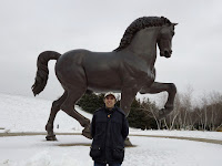 A photograph of the American Horse, inspired by da Vinci's unfinished Horse sculpture, at Meijer Gardens in Grand Rapids, Michigan.