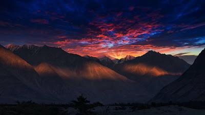 Evening, sunlight, sky sunset twilight, clouds, mountain