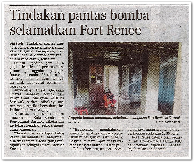 Tindakan pantas bomba selamatkan Fort Renee - Keratan akhbar Berita Harian 10 Ogos 2020