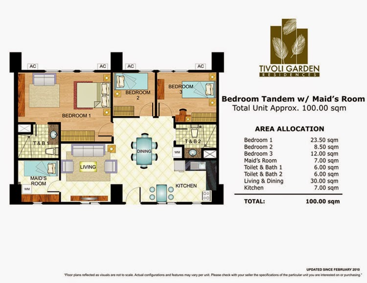 Tivoli Garden Residences 3 Bedroom Tandem Unit 100.00 sqm