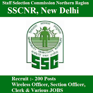 Staff Selection Commission Northern Region, SSCNR, New Delhi, Delhi, SSC, Section Officer, Clerk, Graduation, freejobalert, Sarkari Naukri, Latest Jobs, sscnr logo