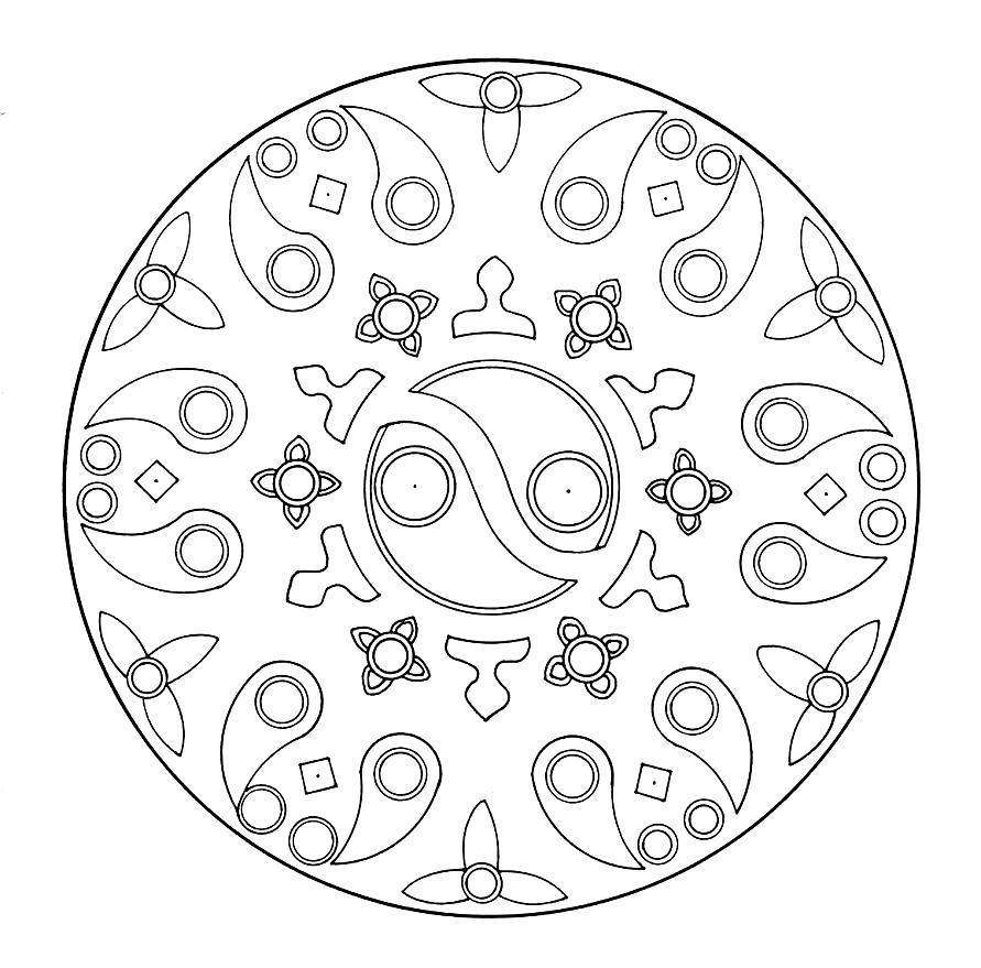 Mandala Madness A Yin Yang Mandala To Color