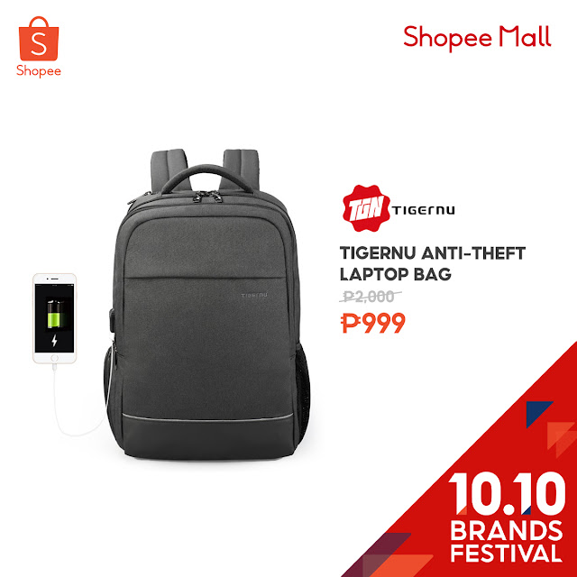Tigernu Anti-Theft Laptop Bag at 50% Off on Shopee's 10.10 Brands Festival