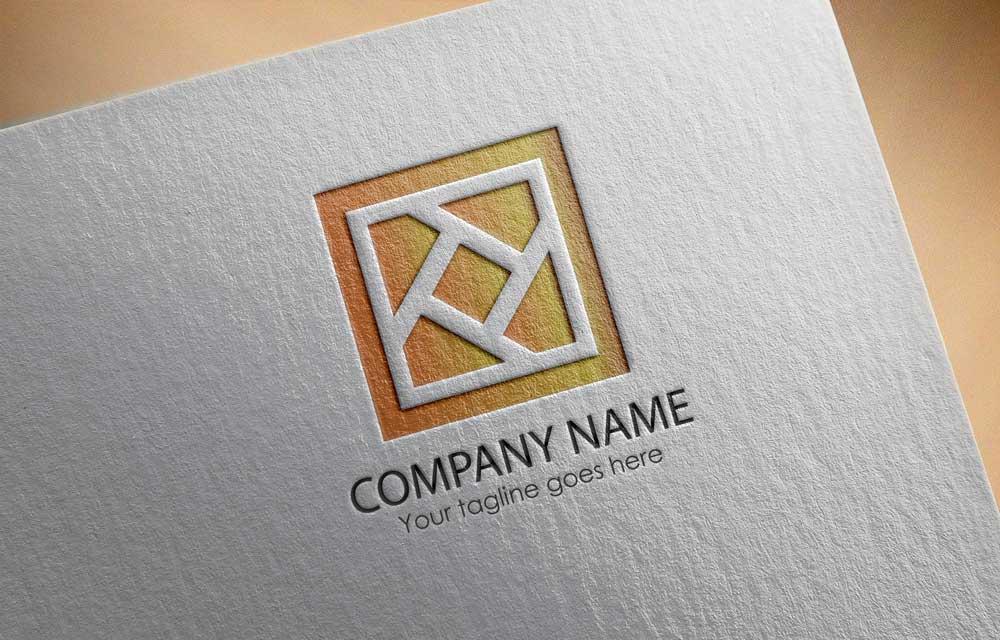 Download Free Logo Company concept white shape inside a golden frame