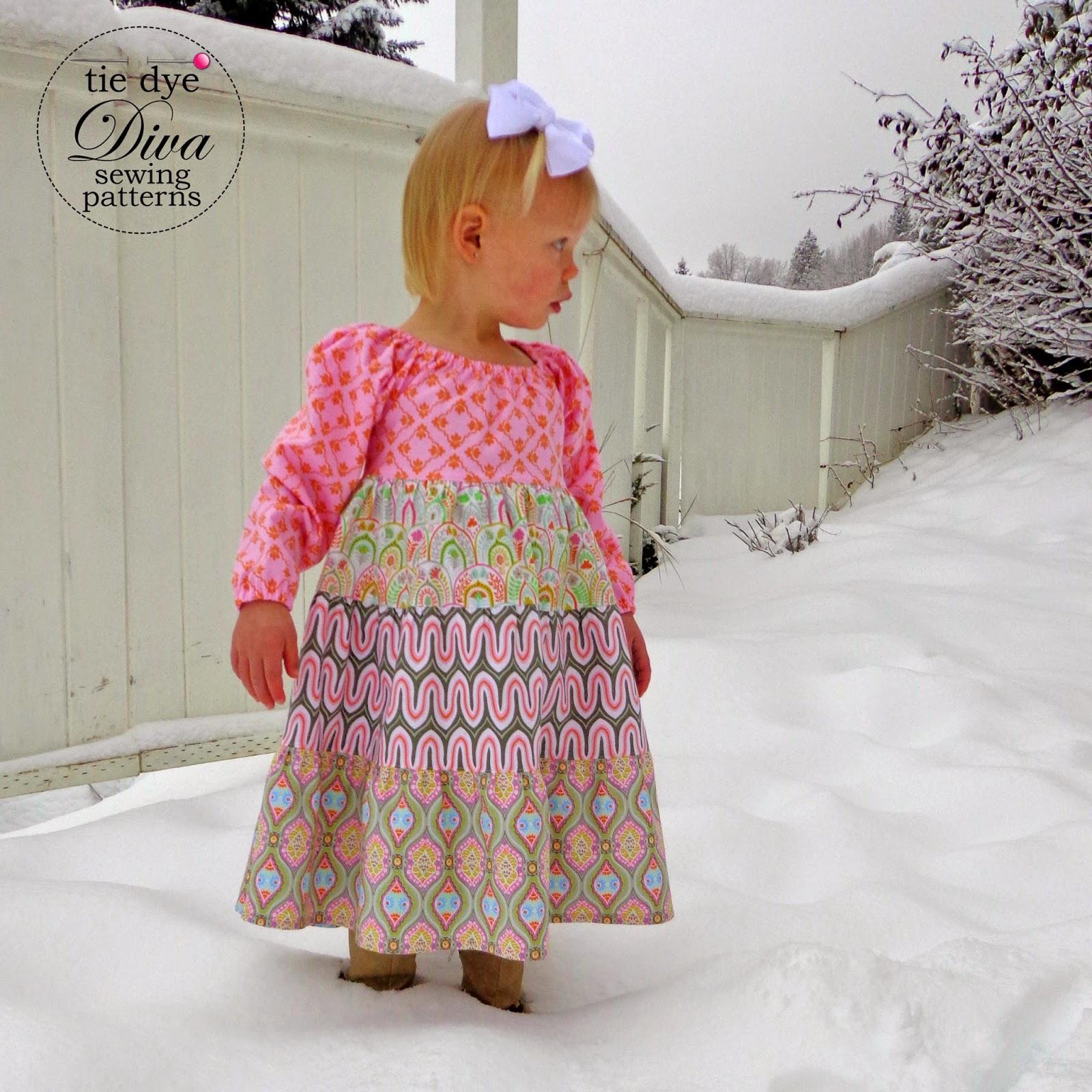 A Year of Dresses Belle Dress for Winter Tie Dye Diva Patterns Blog