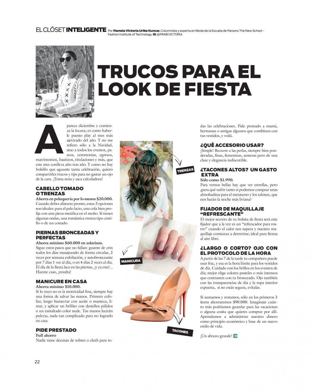 Pamela Victoria - columnista de moda en Chile - asesoria  de vestuario - tips de moda - fiestas de fin de año - ahorra en fiestas de fin de año