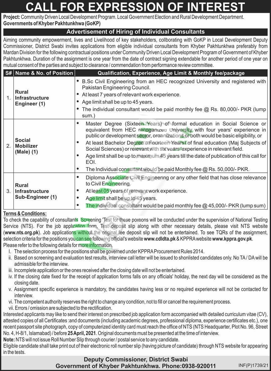 Deputy Commissioner Office Swabi Jobs 2021 Latest Advertisement