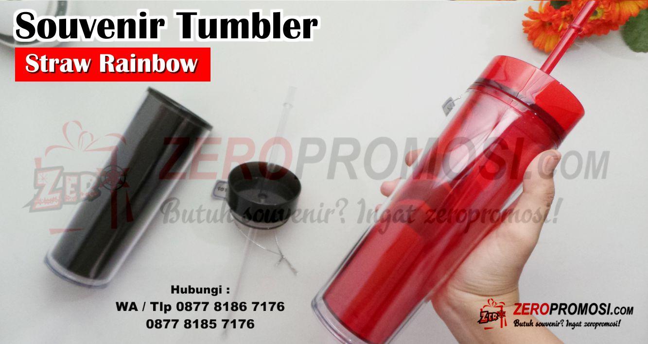 Jual Tumbler Straw Rainbow WB-121 untuk souvenir kantor, barang promosi dengan custom logo, Tumbler Straw Rainbow + Sablon 500ML WB121, tumbler botol plastik straw rainbow custom